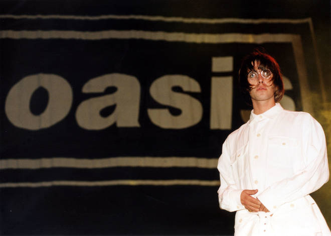 Liam Gallagher onstage on the first night at Knebworth, 10 August 1996