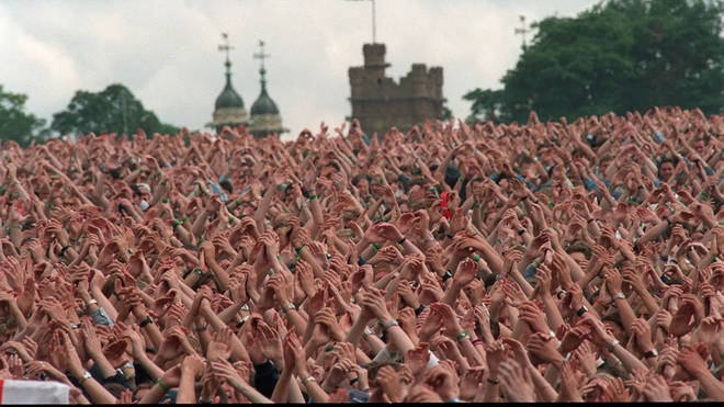 The crowd wait for Oasis at Knebworth, 10 August 1996