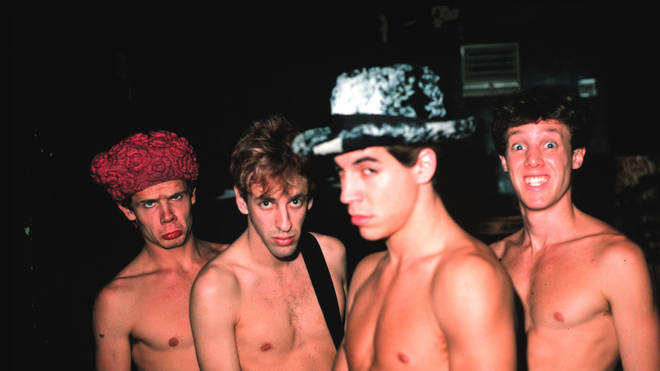 Red Hot Chili Peppers' Flea, Hillel Slovak, Anthony Kiedis and Jack Irons pose in 1987
