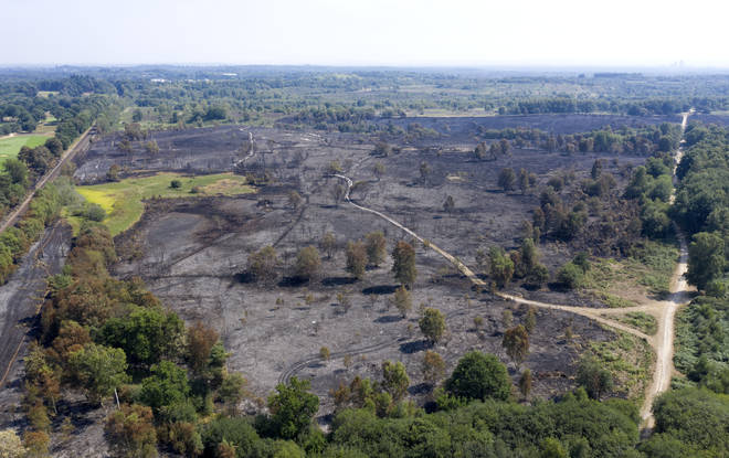 An aerial view of the aftermath of a fire on Chobham Common on August 9 in Surrey.
