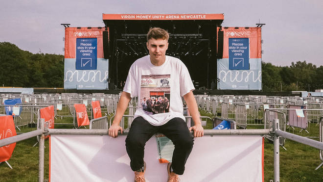 Sam Fender poses at the Virgin Money Unity Arena ahead of his gig