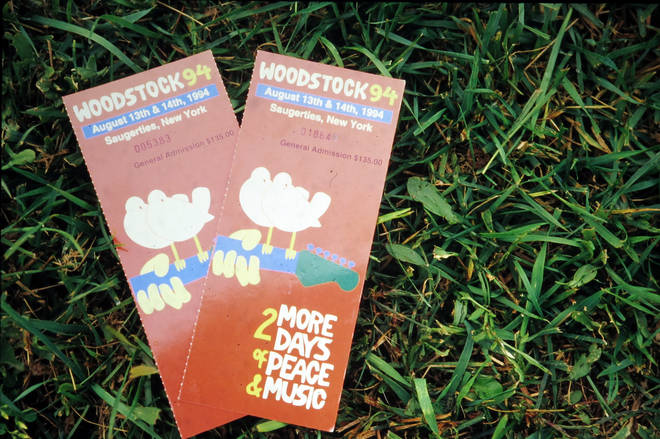 Tickets for the Woodstock '94 festival, Saugerties, New York, August 14, 1994