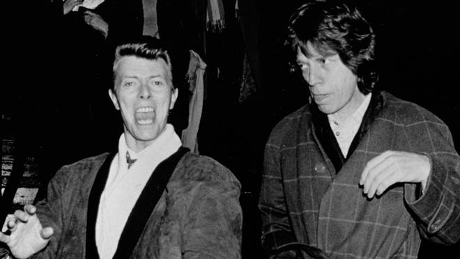 David Bowie and Mick Jagger papped on November 28, 1985 at the China Club in New York City.