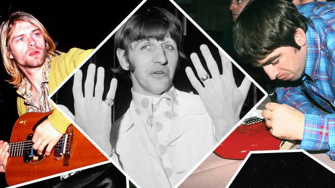 Nirvana's Kurt Cobain, Ringo Starr, Noel Gallagher, Jimi Hendrix and Black Sabbath's Tony Iommi