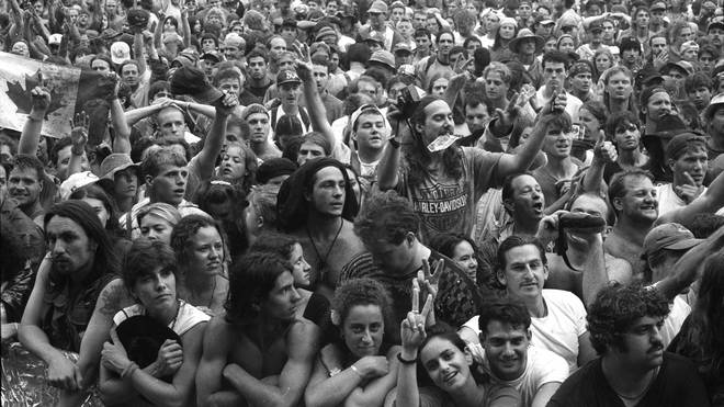 The crowd at the main stage at Woodstock 94, 14 August 1994