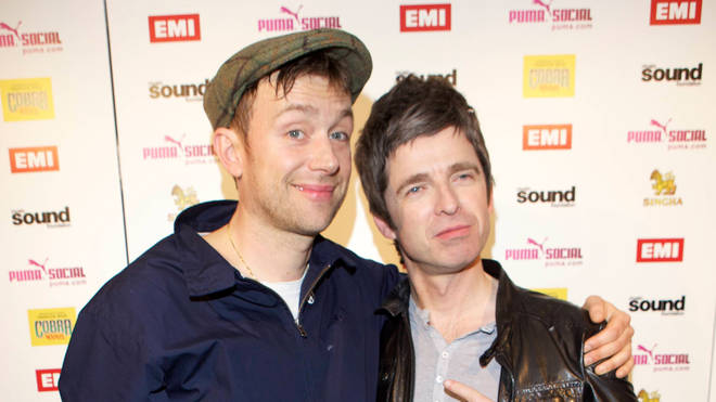 Damon Albarn and Noel Gallagher hanging out together after the BRIT Awards in 2012