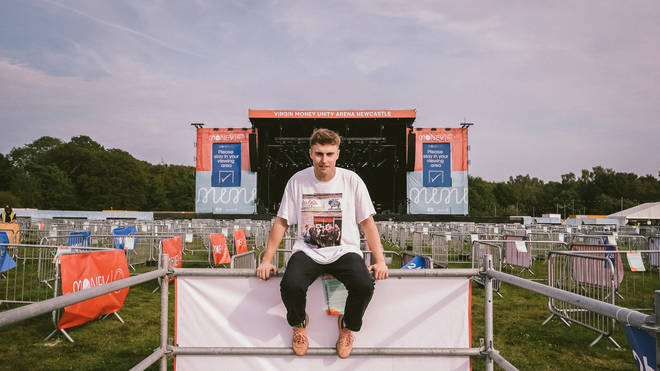 Sam Fender poses at the At Virgin Money Unity Arena ahead of his performance on Tuesday 11 August