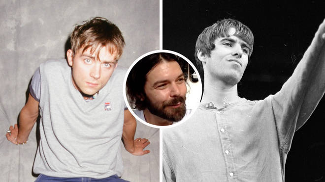 Blur's Damon Albarn in 1995, Oasis' Liam Gallagher in 1995 with Biffy Clyro's Simon Neil inset
