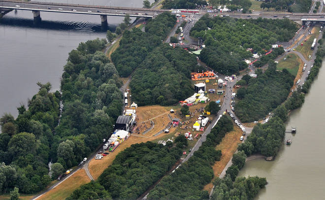 An aerial view of the the FM4 Planet stage at Donauinselfest DIF 2015 on June 27, 2015 in Vienna, Austria.