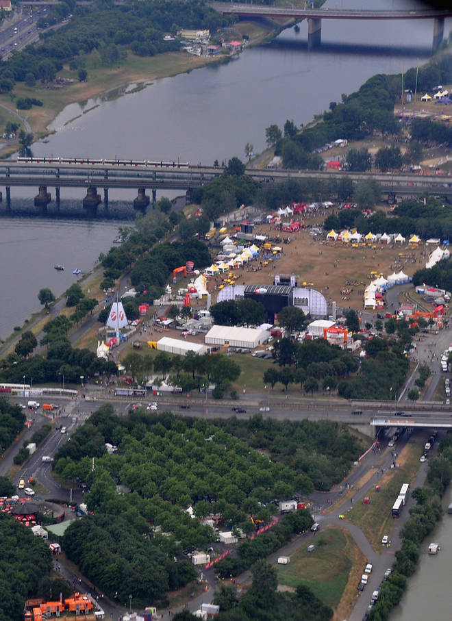 A aerial view of the main stage at Donauinselfest DIF 2015 on June 27, 2015 in Vienna, Austria.