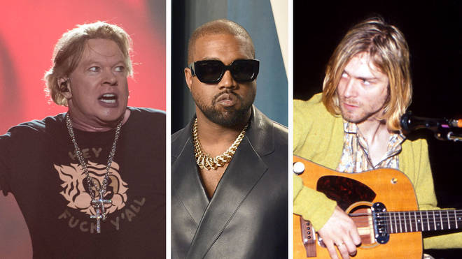 Guns N' Roses' Axl Rose, Kanye West and Kurt Cobain