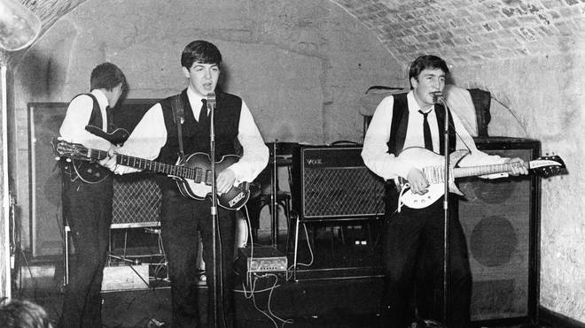 The Beatles onstage at the original Cavern Club at 10 Mathew Street in August 1962