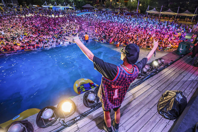 A sea of party-goers pictured at a pool party in Wuhan, China