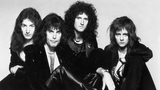 Queen in 1975: John Deacon, Freddie Mercury, Brian May and Roger Taylor