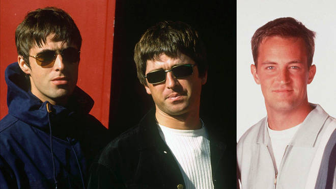 Oasis rockers Liam Gallagher, Noel Gallagher and Friends star Matthew Perry in 1997