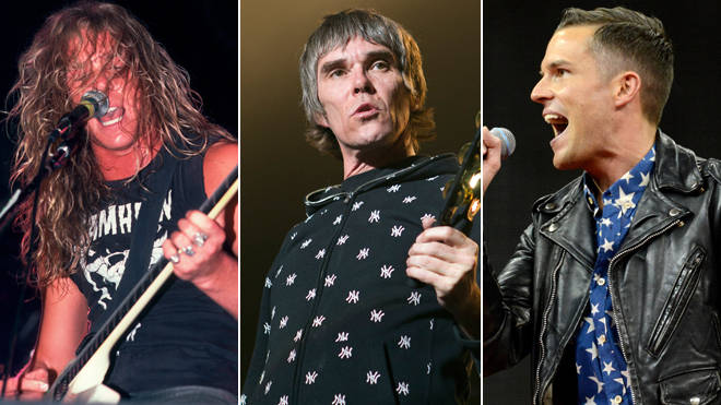 James Hetfield of Metallica in 1987; Ian Brown of The Stone Roses in 2012; Brandon Flowers of The Killers in 2013