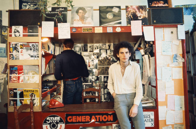 The Smiths' label boss Geoff Travis, in the original Rough Trade shop in 1977