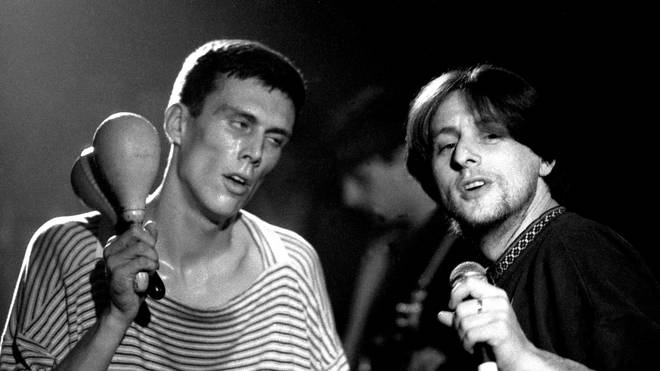 Shaun Ryder and Bez of Happy Mondays performing at the Free Trade Hall, Manchester, November 1989