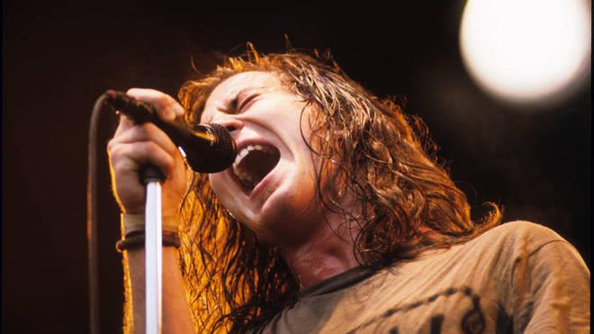 Eddie Vedder performing with Pearl Jam at Pinkpop Festival, June 1992