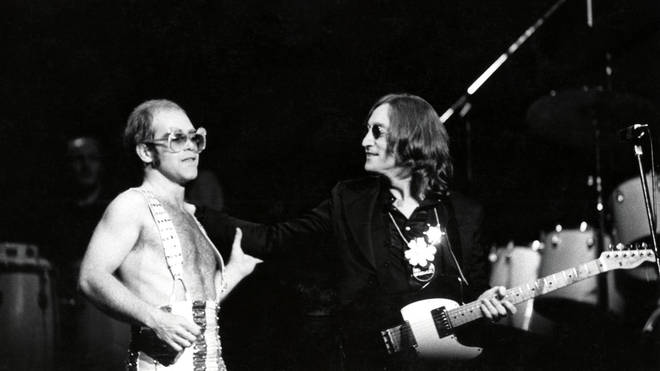 Elton John and John Lennon at Madison Square Garden on 28 November 1974