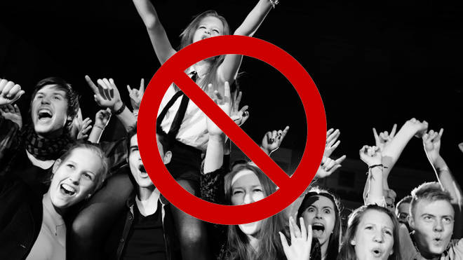 Rock fans at a live gig
