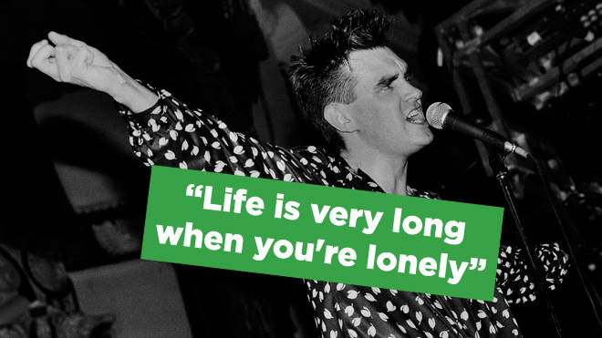 Morrissey onstage with The Smiths in 1985