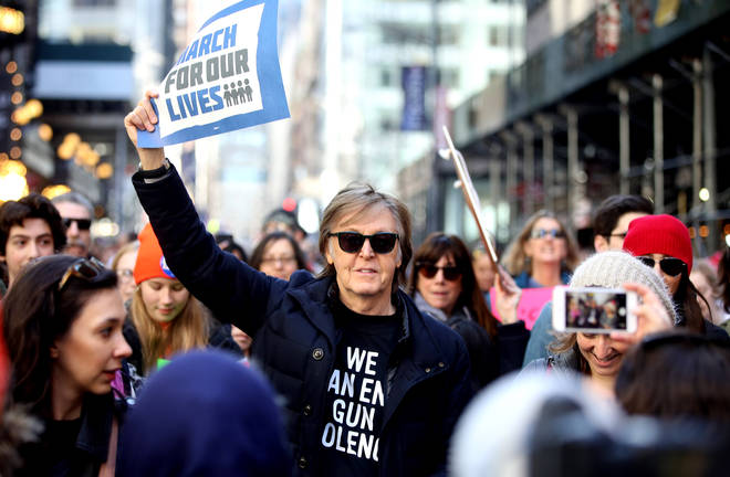 """Paul McCartney attends the """"March For Our Lives"""" protest against gun violence in the country on March 24, 2018 in New York,"""