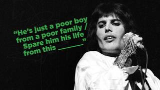 Freddie Mercury performing onstage with Queen in 1974