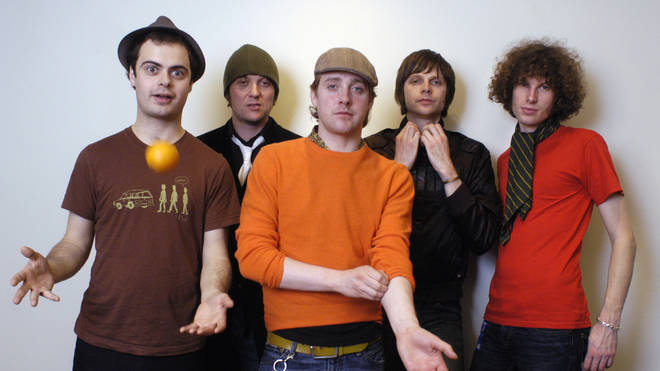 "Kaiser Chiefs in January 2005: Nick ""Peanut"" Baines, Andrew ""Whitey"" White, Ricky Wilson, Nick Hodgson and Simon Rix"