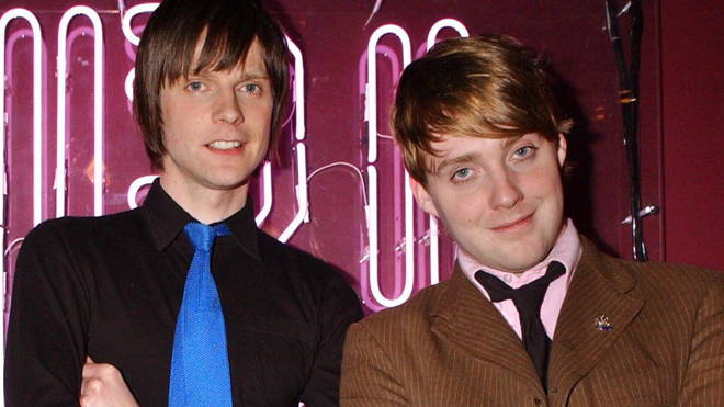 Nick Hodgson and Ricky Wilson of Kaiser Chiefs on MTV in March 2005