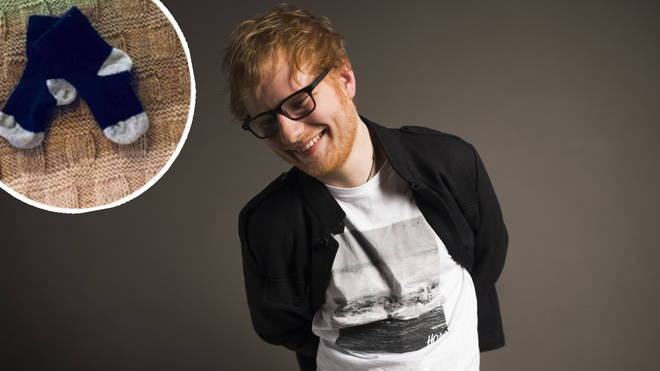 Ed Sheeran with image of daughter's socks inset