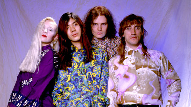 Smashing Pumpkins' D' Arcy Wretzky, James Iha, Billy Corgan and Jimmy Chamberlain in 1991