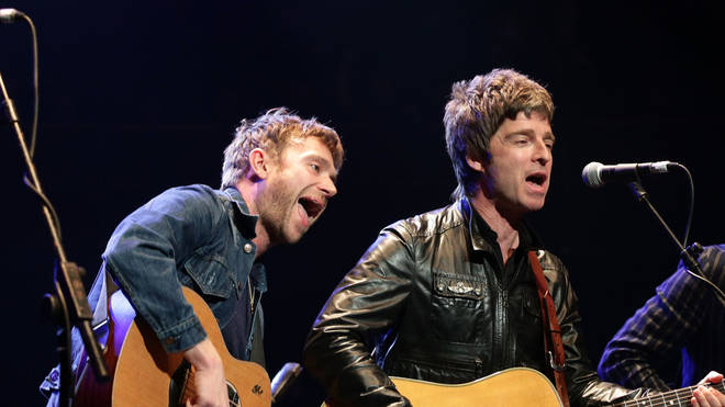 Damon Albarn and Noel Gallagher at Teenage Cancer Trust concert in 2013