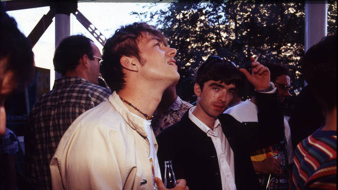 Blur frontman Damon Albarn and Oasis guitarist Noel Gallagher in 1994