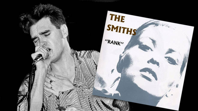 Morrissey perfoming live wth The Smiths in 1985 and the cover of their album Rank