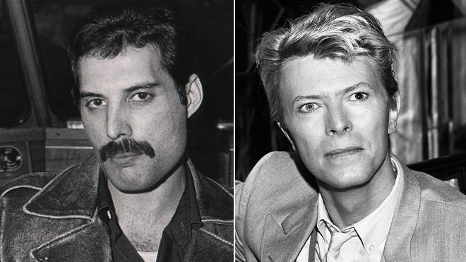 Freddie Mercury and David Bowie at the height of their fame in the early 1980s