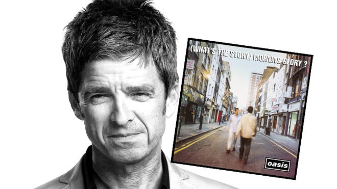 Noel Gallagher in 2018 and the (What's The Story) Morning Glory? album cover