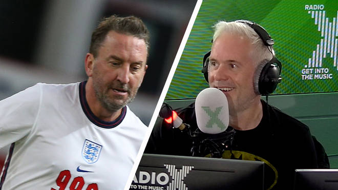 Lee Mack fulfils Chris Moyles Soccer Aid entrance dare and secures his £1K donation