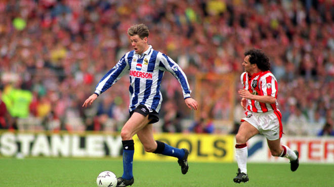 Chris Waddle plays for Sheffield Wednesday against Sheffield Utd in 1993's FA Cup Semi Final