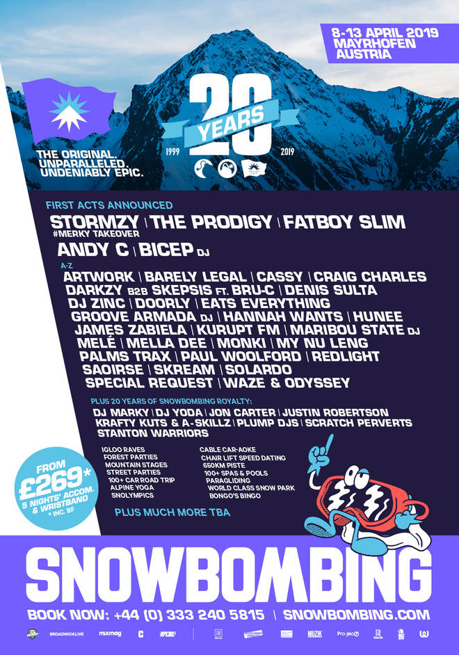 Snowbombing first wave line-up poster 2019