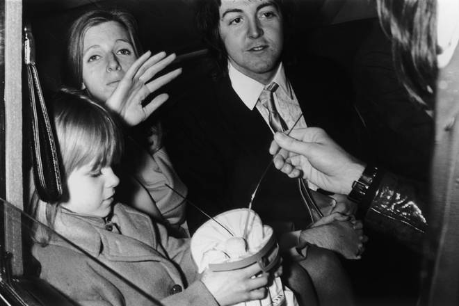 Paul McCartney marries Linda Eastman, 12 March 1969. With them is Linda's daughter Heather.