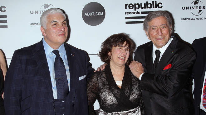 Amy Winehouse's parents Mitch and Janis with Tony Bennett at a gala for the Amy Winehouse Foundation Inspiration Awards in March 2013