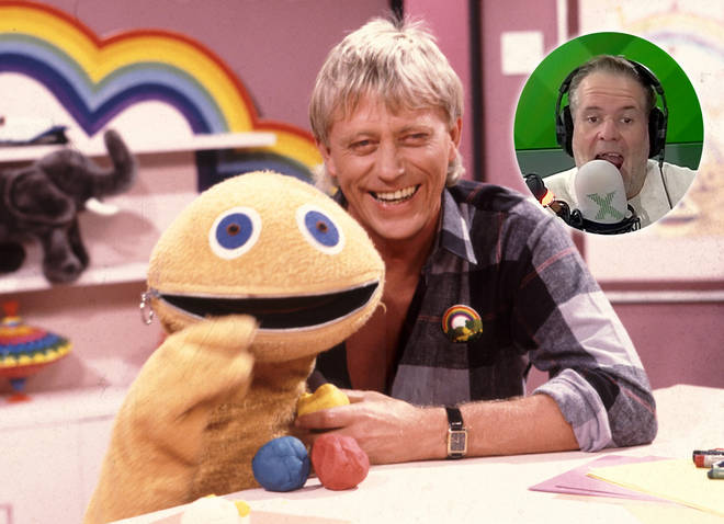 Rainbow's Zippy and Geoffrey Hayes with Radio X's Chris Moyles inset