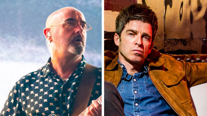 Former Oasis guitarist Paul 'Bonehead' Arthurs and Noel Gallagher