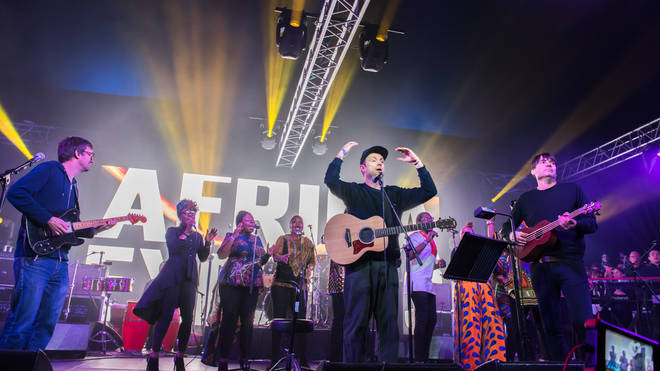 Graham Coxon, Damon Albarn and Alex James of Blur perform on stage in Africa Express: The Circus, part of Waltham Forest London Borough of Culture 2019