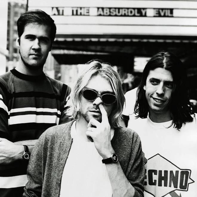 Nirvana in 1993: Krist Novoselic, Kurt Cobain, Dave Grohl