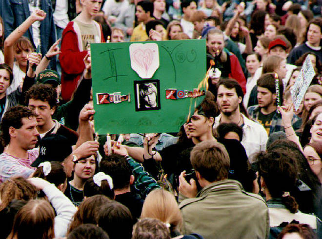 Fans at the vigil for Kurt Cobain on 10 April 1994 at the Seattle Center, WA