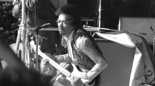 Jimi Hendrix  at his last concert on 6 September, 1970 in Isle of Fehmarn, Germany.
