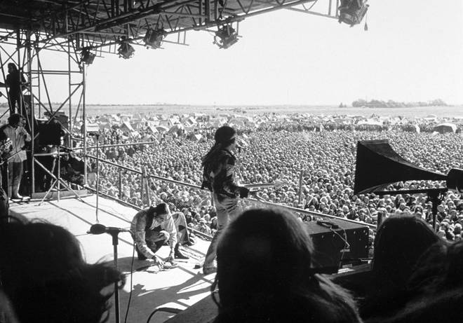 Jimi Hendrix on stage at the Isle of Fehmarn festival, 6 September 1970