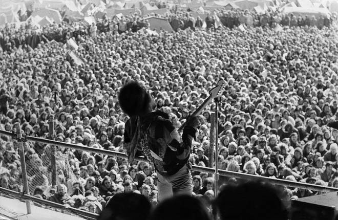 "Jimi Hendrix rocks out for the final time at the ""Love and Peace Festiavl"" in Fehmarn, Germany"